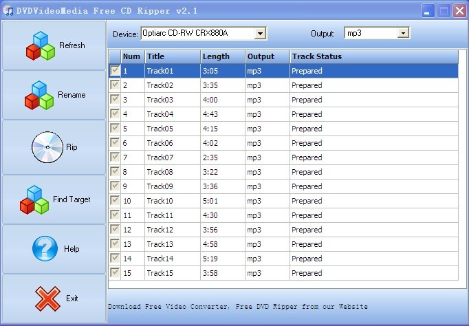 Click to view DVDVideoMedia Free CD Ripper 2.1 screenshot