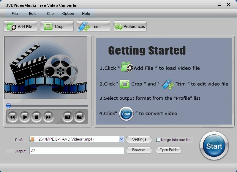 Click to view DVDVideoMedia Free Video Converter 2.1 screenshot