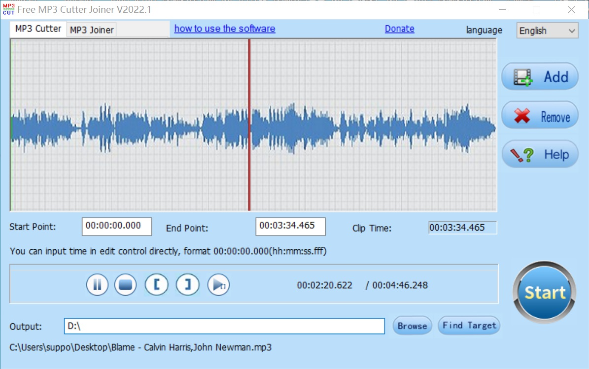 Free MP3 Cutter Joiner Screen shot